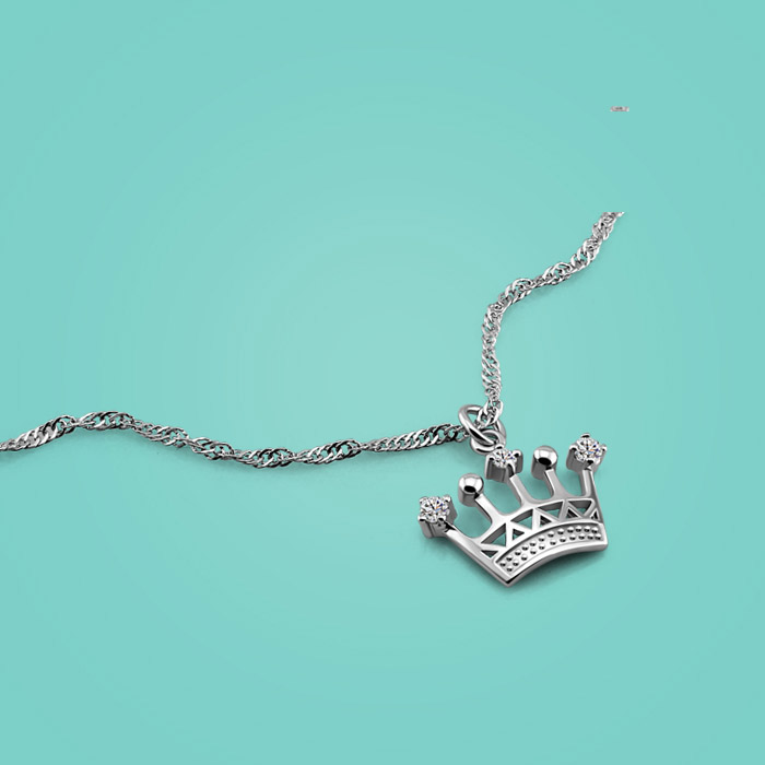 Real Silver Necklace 925 Sterling Silver Crown Pendant ...