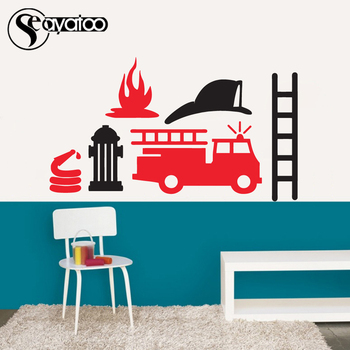 Cartoon Fire Truck Engine Car Vinyl Wall Decal Sticker Kids Boys Bedroom Nursery Stickers
