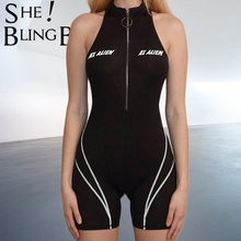 SheBlingBling o-ring Zipper Front mujer Playsuit cuello alto sin mangas negro gimnasio Fitness ceñido Mono corto(China)