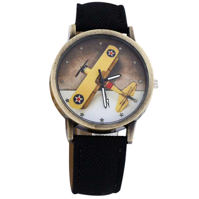 Superior New Fashion Plane Design Denim Leather Quartz Watch Wrist Watch For Women And Men June 27*