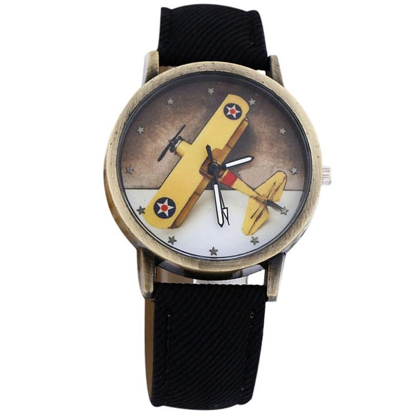 Superior New Fashion Plane Design Denim Leather Quartz Watch Wrist Watch For Women And Men June 27*