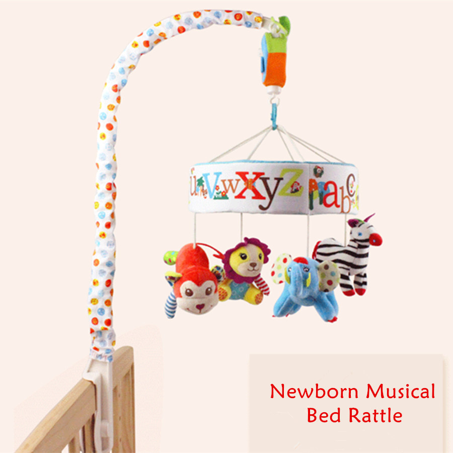 Baby Rattles Toys 0 12 Months Newborn Crib Mobile Bed Bell Musical Rattles Cartoon Colorfull Letters Early Learning Toys
