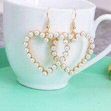 Hollow soft cute retro geometric heart love pearl earrings simple ear jewelry female gift wholesale