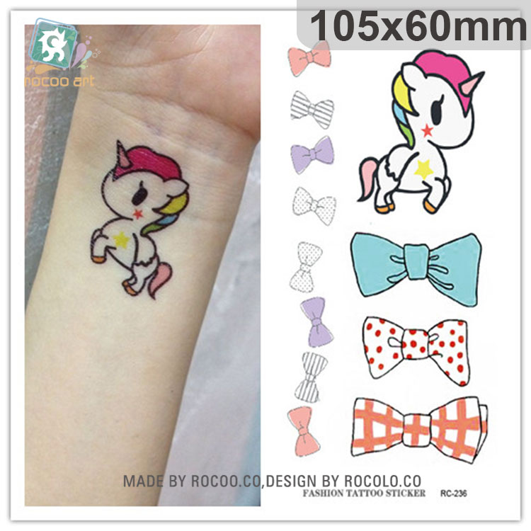 Waterproof Fake Tattoo Stickers Cute Cartoon Horse Bow Tie Pattern Design Water Transfer Large Temporary Tattoos Sticker Taty
