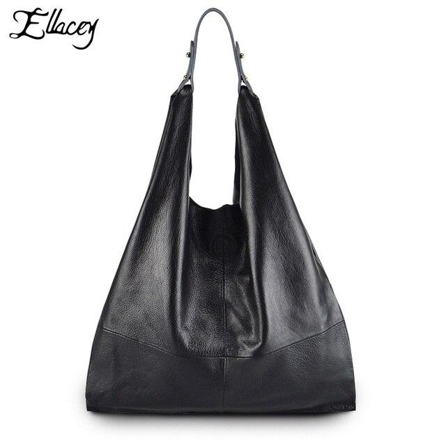 e737779184696 2017 Ellacey Einfachen Stil 100% Echtem Leder Frauen Klassische Luxus Hobo  Bag Rindsleder damen umhängetasche