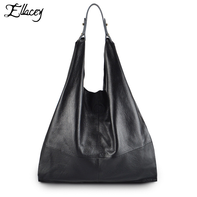 2017 Ellacey Simple Style 100% Genuine Leather Women Classic Luxury Hobo Bag Cowhide ladies' Shoulder bag Totes Handbag luxury brand chains double flap bag 100% genuine leather sheepskin women classic shoulder bag handbag totes red black beige pink