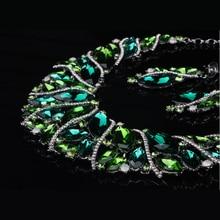 Luxury Austrian Crystal Wedding Bridal Jewelry Sets Green Tree Rattan Statement Necklace Earrings Set