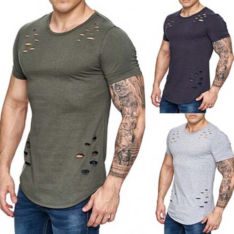 Aliexpress.com : Buy Men Fashion Hole Shirt 2017 Summer New ...