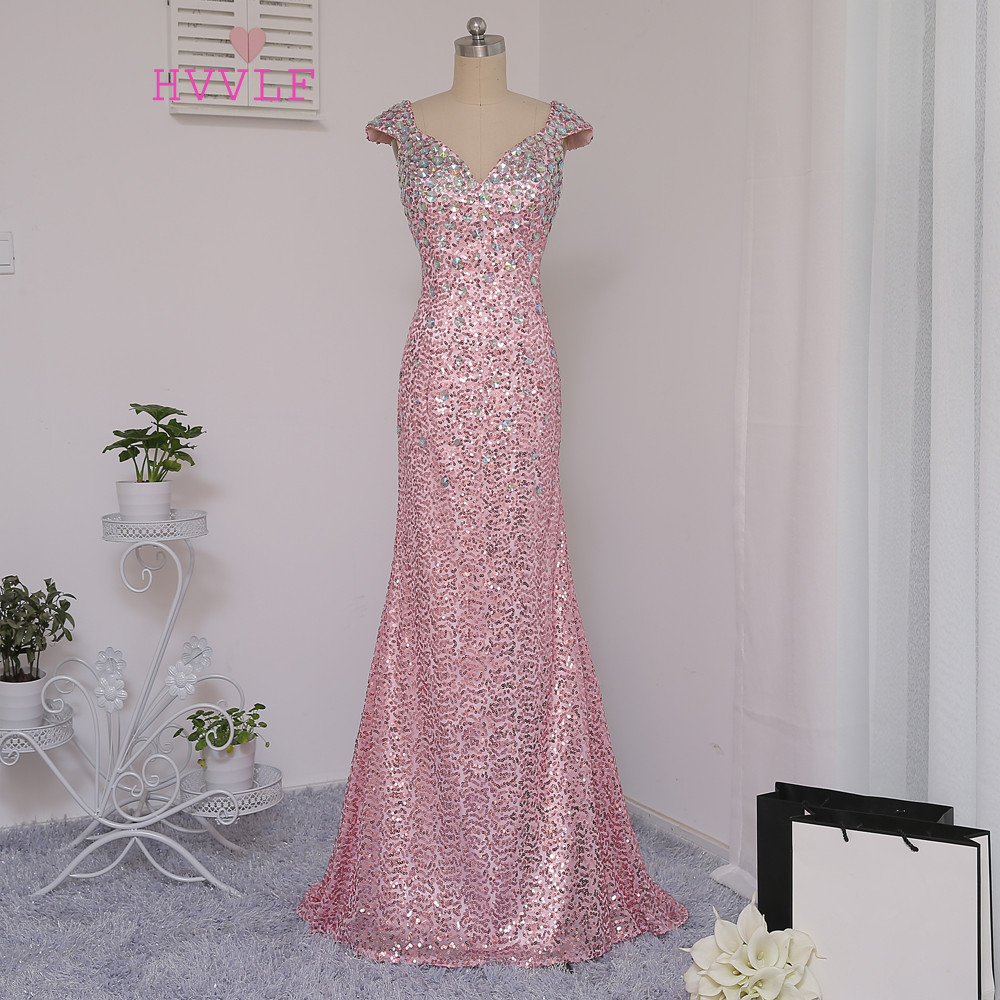 New Pink 2019   Prom     Dresses   Mermaid Cap Sleeves Crstals Sequins Long Backless   Prom   Gown Evening   Dresses   Evening Gown