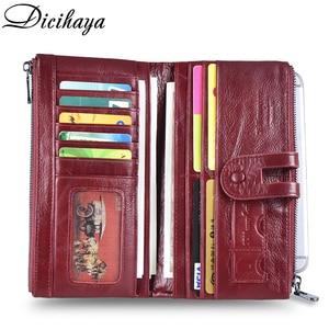 Image 4 - Dicihaya 新しい本革女性財布ジッパーロング女性革電話バッグブランドコイン財布牛革財布カードホルダー
