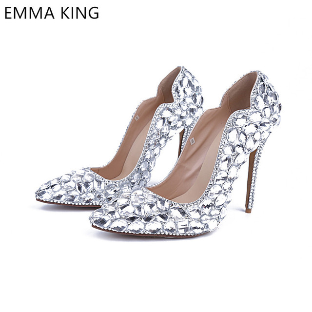 8a387516af1f EMMA KING Pointed Toe High Heel Shoes Woman Luxury Crystal Party Wedding  Sheoes Thin Heel Stilettos Soft Leather Pumps Size 43