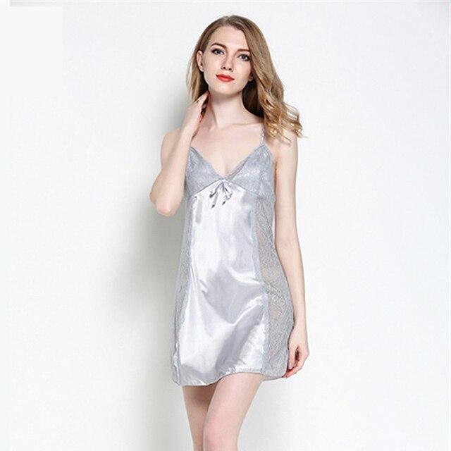 Frauen Sexy Seidensatin Nightgown Sleeveless Nachthemd V ausschnitt ...