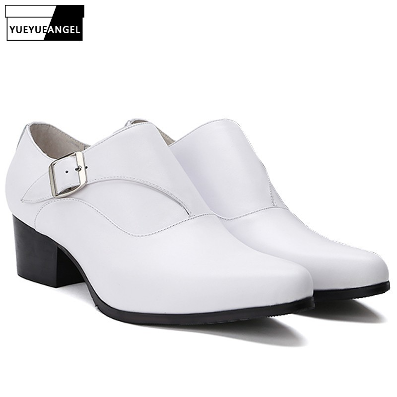 British High Top Mens White Genuine Leather Pointed Toe Block Med Heels Wedding Dress Shoes Buckle Slip On Loafers Formal ShoesBritish High Top Mens White Genuine Leather Pointed Toe Block Med Heels Wedding Dress Shoes Buckle Slip On Loafers Formal Shoes