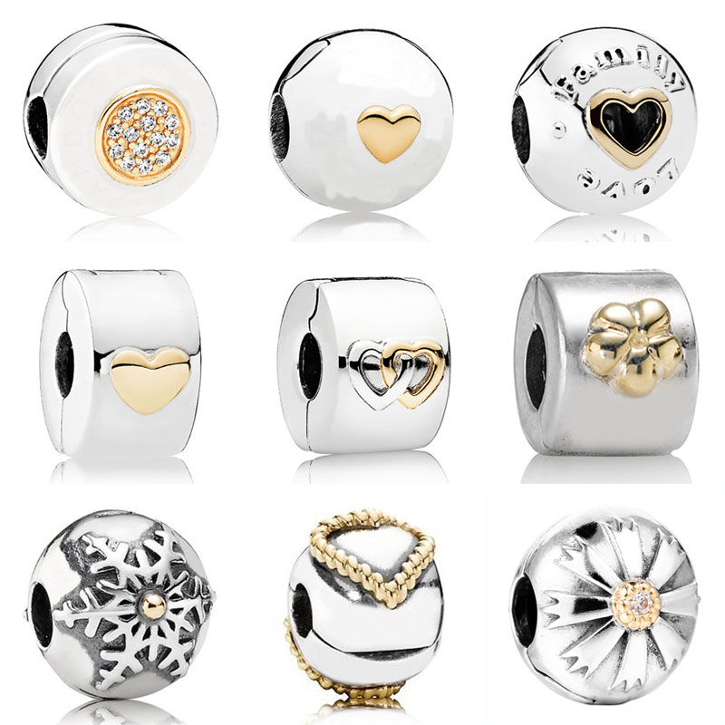 Gold Color Love Heart Fixed PAN Two-Tone Signature Clip Stopper Beads Fit Pandora Bracelet 925 Sterling Silver Charm Jewelry