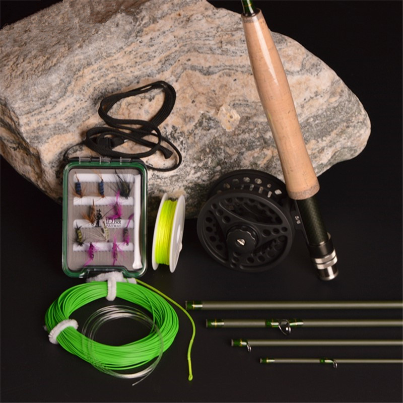 New Carbon Fly Fishing combo Set 2.7 m 5 section fly rod line wt 5/6 # fishing rod fishing supplies