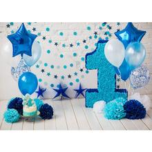 Balloon Star Decorations Vinyl Cloth Photographic Background for Photo Studio Children Baby Birthday Party Backdrop Photo Studio