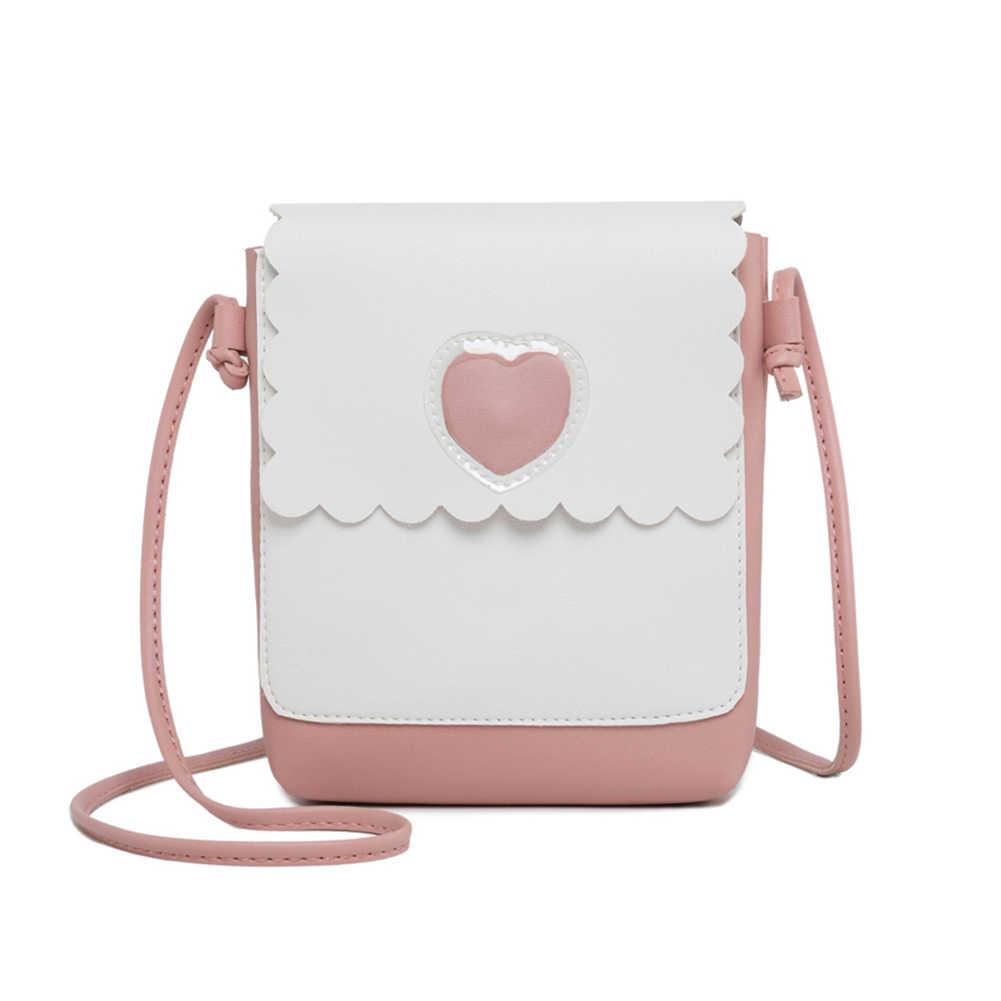 2019 جديد أزياء المرأة الفتيات واحدة Shouder على Crossbody البسيطة حقيبة القلب نمط المال الحقيبة محفظة LBY2019