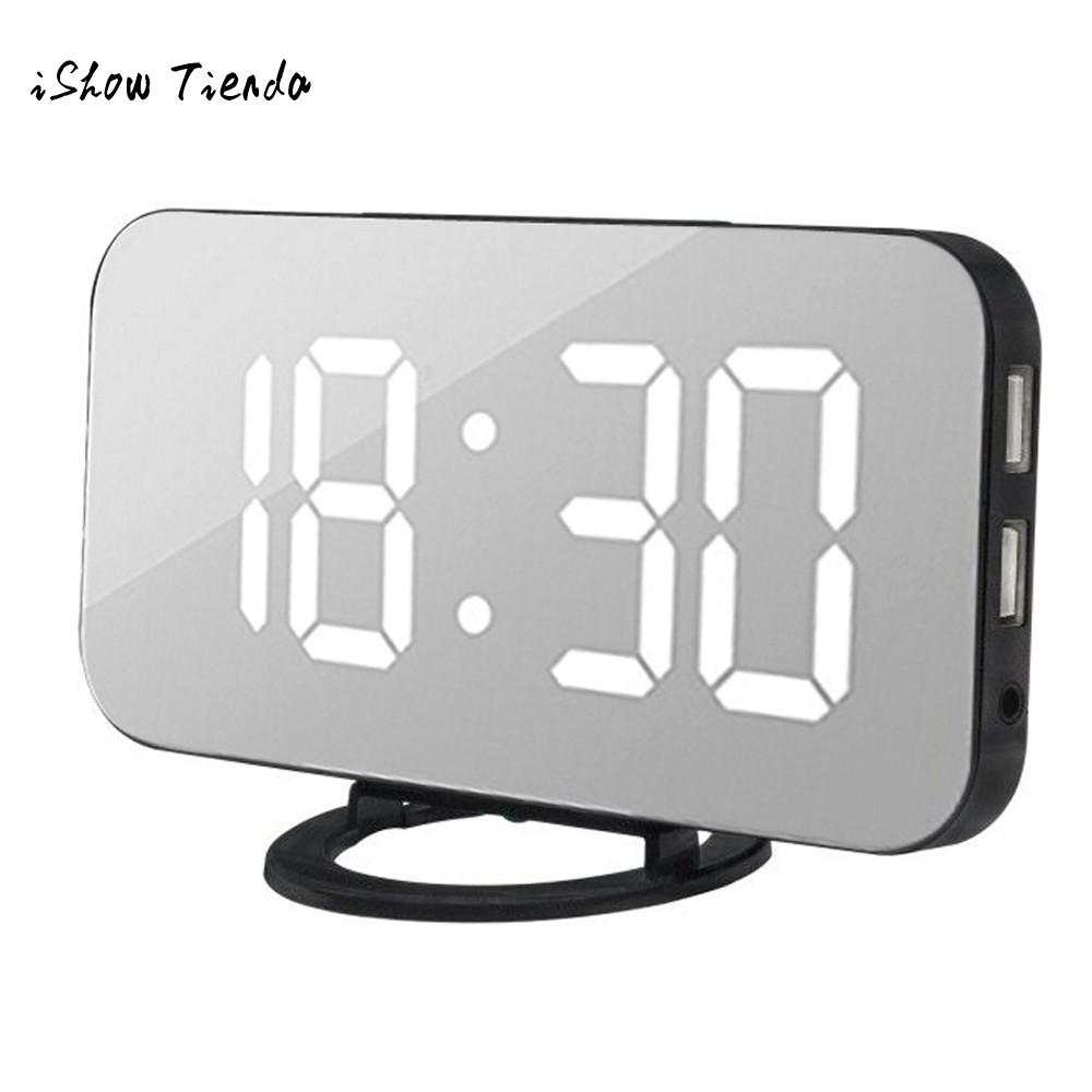 Home Decor Home & Garden Ingenious Led Digital Alarm Clock With Usb Port For Phone Charger Touch-activited Snooze Eu Charger Desktop Office Table Clocks Horloge Elegant Appearance