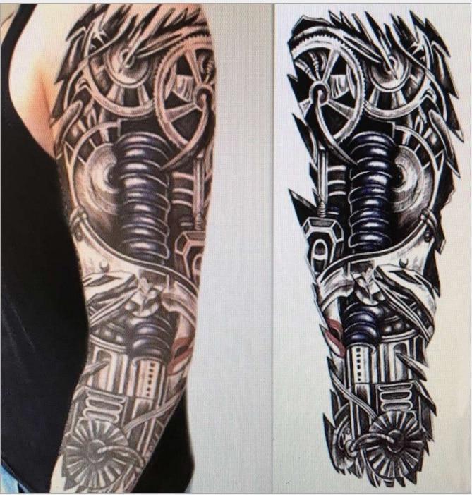 Große Roboterarm Wasserdicht Temporäre Tattoos Männer Frauen