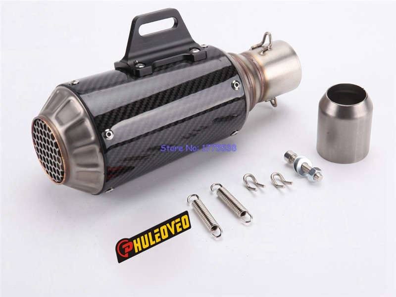 PHULEOVEO Universal Inlet 51mm Motorcycle Exhaust Muffler Carbon Fiber Motorbike Mufflers Exhaust Pipe Escape with DB Killer