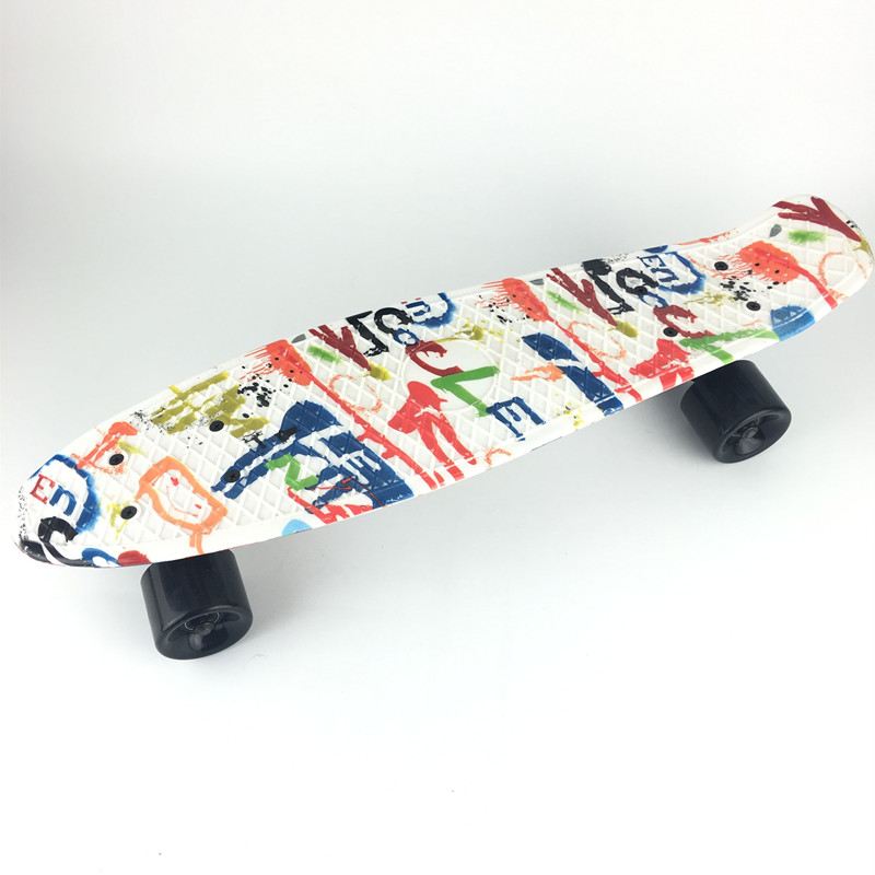 22 inch Long Board White Graffiti Retro Skateboard Mini Cruiser Outdoor Sports For Adult or Children 2016 new peny board skateboard complete retro girl boy cruiser mini longboard skate fish long board skate wheel pnny board 22