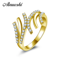 AINUOSHI 10K Yellow Gold Engagement Ring Lines Sona Simulated Diamond Vintage Wedding Jewelry Unique Gold Ring Bridal Band Ring