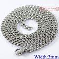 (40 cm-60 cm), 3mm de largura, Cadeia Curb Cubano, acessórios de colar de Corrente de Aço Inoxidável 316L para homens ou mulheres, atacado, WN001