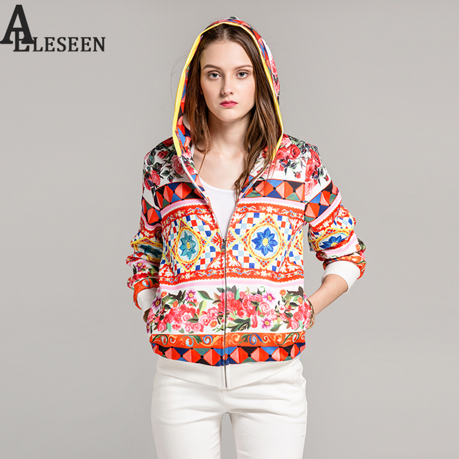 High Street Ladies Women Jackets 2018 Autumn Fashion Full Lantern Sleev Rose Printed Cotrast Color Pullovers Casual Jacket