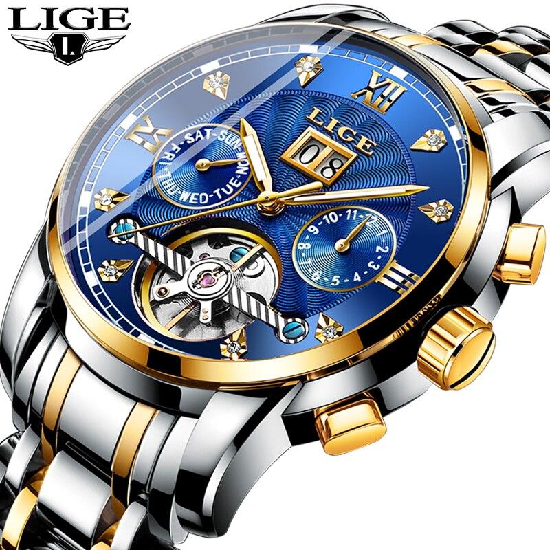 LIGE hommes montres automatique mécanique montre de mode diamant horloge mâle en acier inoxydable étanche montre hommes Relogio Masculino