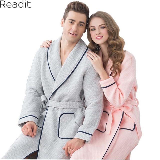 a83b2461fa Couples Cotton Bathrobes Female Male Warm Robes Badjas Gown Women Cotton  Home Bathrobe Pyjamas Peignoir Sleepwear PA1748