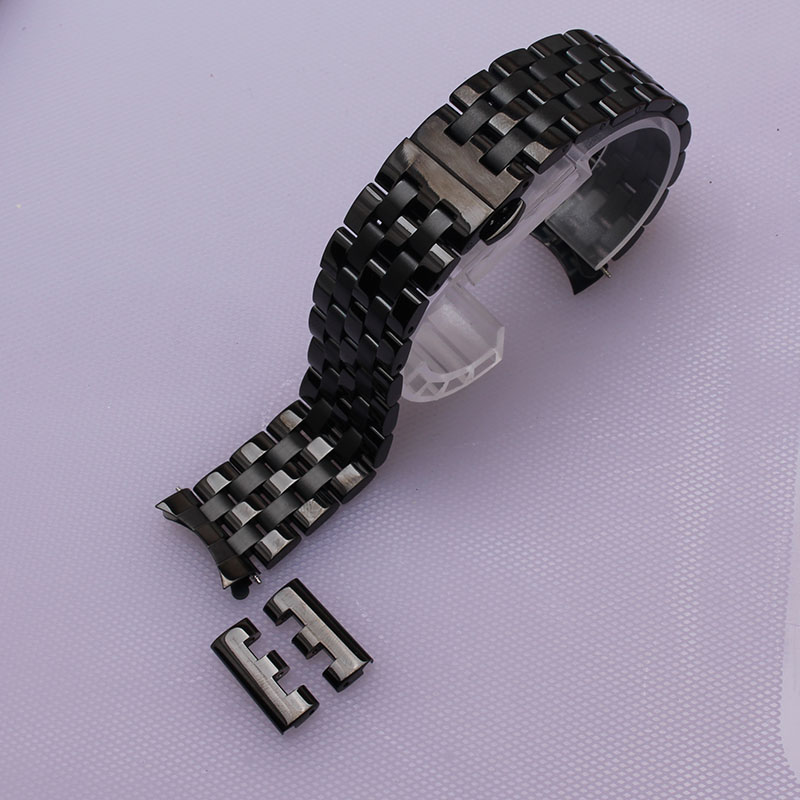 16mm 18mm 20mm 22mm 24mm Watch band black Depolyment Watchband Metal stainless steel Bracelets Common curved end free flat ends