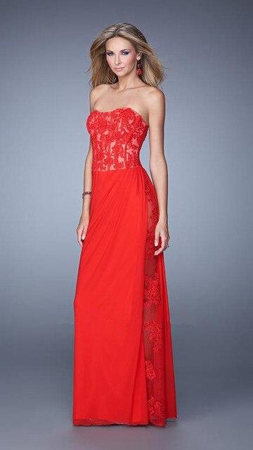 909f3361ff5 Fabulous Straight Floor Length Strapless Neckline Lace Corset Bodice Sheer  Side Slit Gathers Skirt Evening Dresses Long Jersey