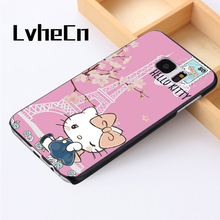 LvheCn phone case cover For Samsung Galaxy S3 S4 S5 mini S6 S7 S8 edge plus Note2 3 4 5 7 8 Hello Kitty Paris Love Cute Pink