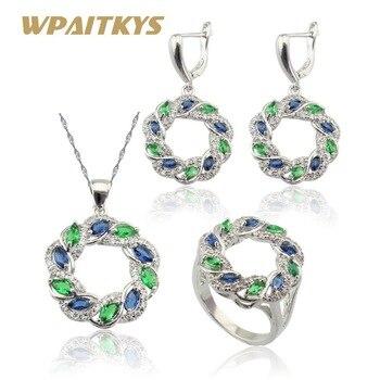 Wpaitkysグリーンブルークリスタルホワイトジルコニアシルバーカラージュエリーセット用女性ネックレスペンダントイヤリングリング無料ギフトボックス