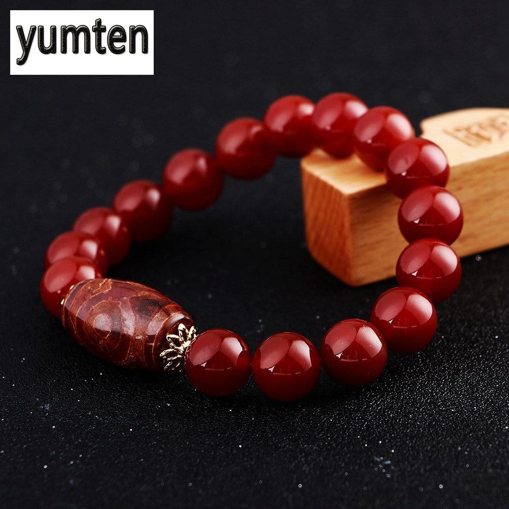 Yumten Men Bracelet Agate Buddha Beads Chinese Style Retro Round Beads Jewelry Power Handmade Tenis Masculino Pulseira Lgbt Diy men beaded bracelet red