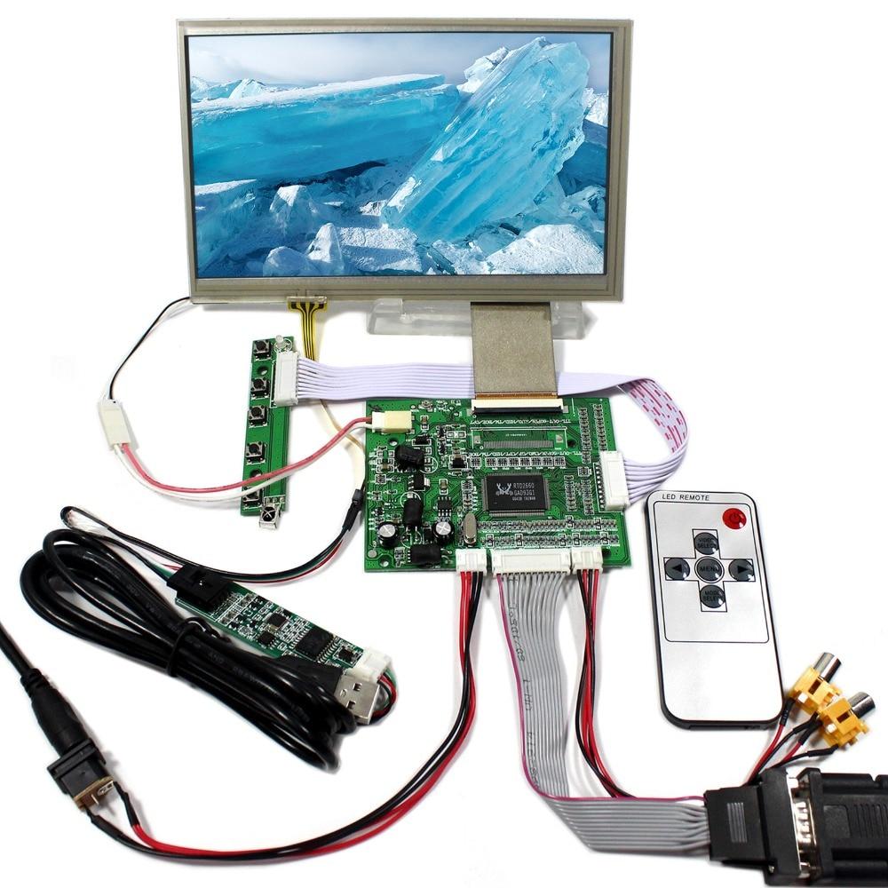 VGA+2AV Reversing LCD Controller Board With 7inch 800x480 HSD070IDW1 Touch LCD Screen vga 2av reversing lcd controller board with 7inch 1024x600 at070tna2 lcd screen