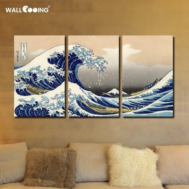 Japan Painting 3 Panels Canvas Wave Kanagawa Katsushika Hokusai Wall Art