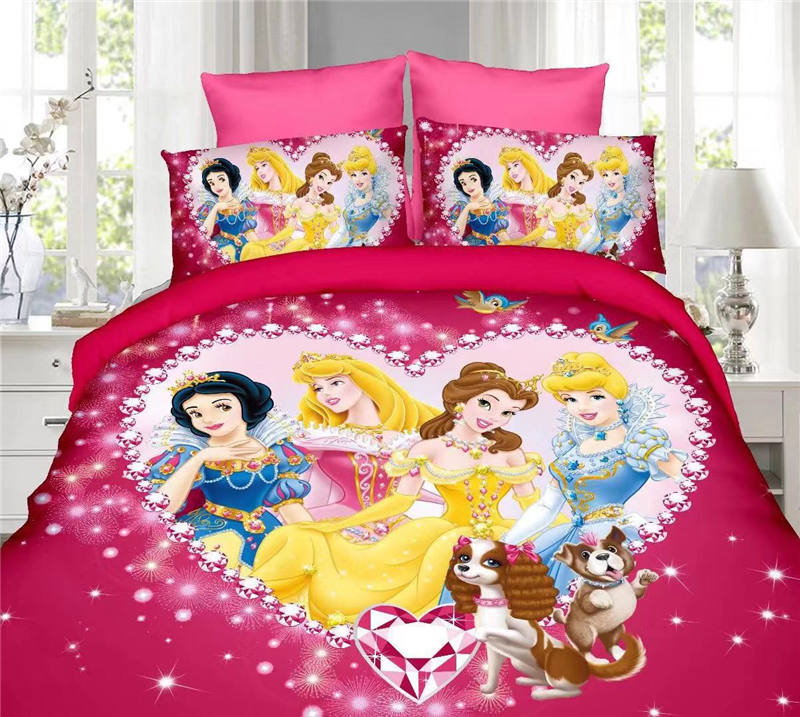 Diamond Princess Bedding Set Twin Size Bed Sheets Duvet Covers For Girls Room Single Bedspread Coverlets 3d Printed 2-4 Pcs Hot