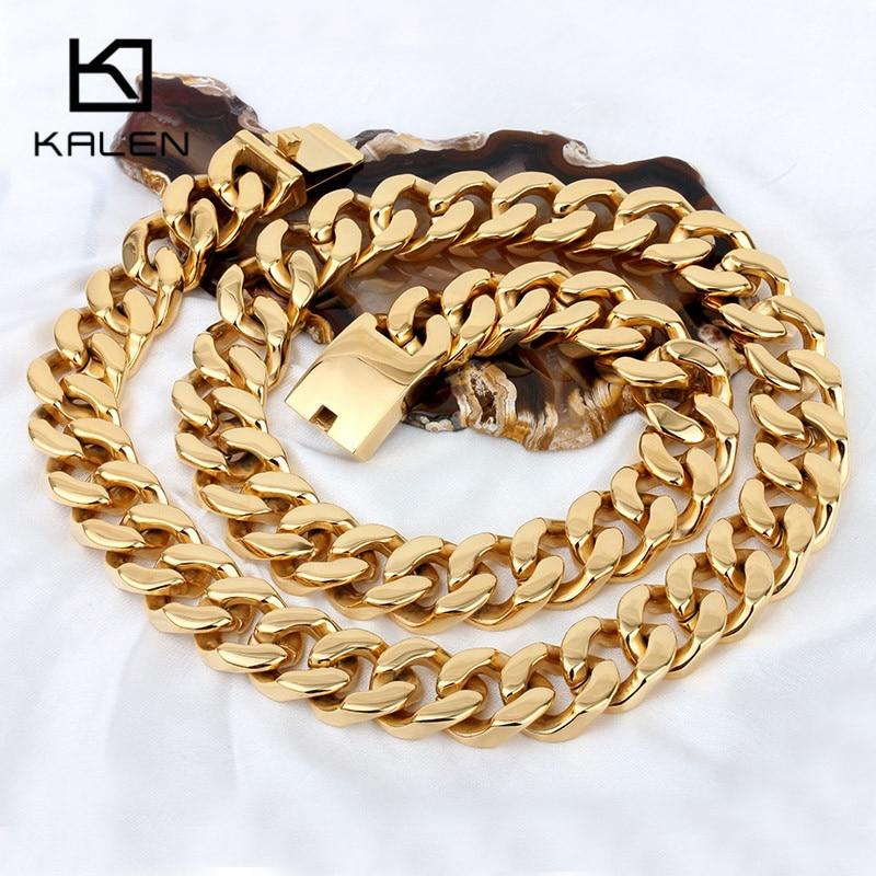 Kalen 70cm Lange Cubaanse Collier Rvs Dubai Goud Kleur 440g Zware Chunky Ketting Mannen's Accessoires - 2