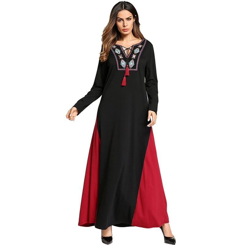 Ethnic Muslim Maxi Dress Abaya Embroidery Elegant Long Robe Gowns Kimono Loose Style Jubah Ramadan Middle East Islamic Clothing