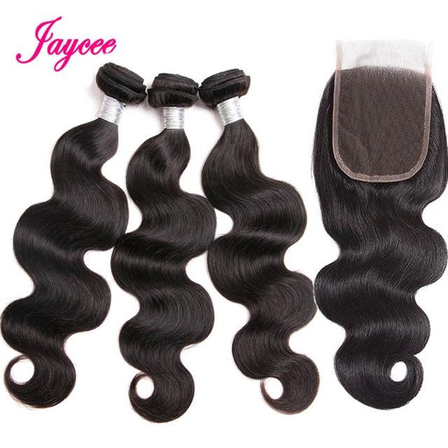 Jaycee Hair Closure with Bundles Brazilian Body Wave Bundles With Closure Non Remy Human Hair Bundles With Closure 4*4 Lace
