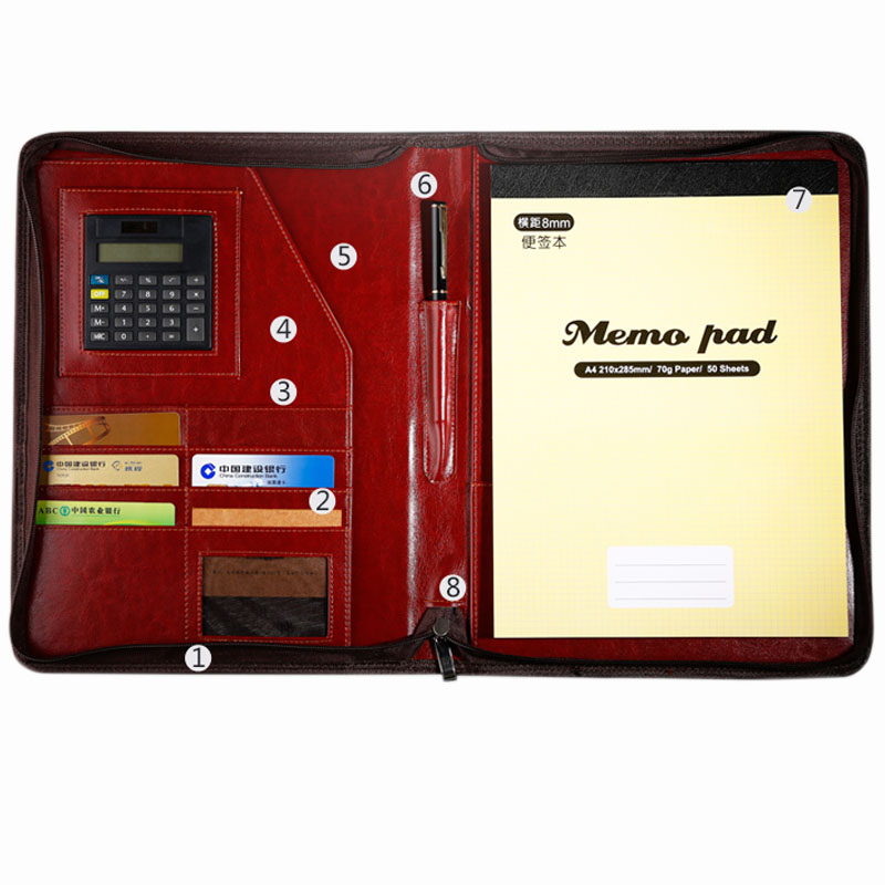 office a4 PU leather zipper portfolio business executive padfolio classification folder document clip holder calculator pen loop business padfolio portfolio with letter size writing notepads deluxe executive vintage brown leather padfolio new