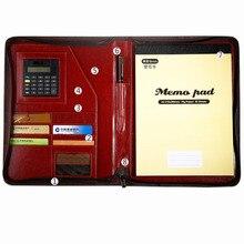 office a4 PU leather zipper portfolio business executive padfolio classification folder document clip holder calculator pen loop