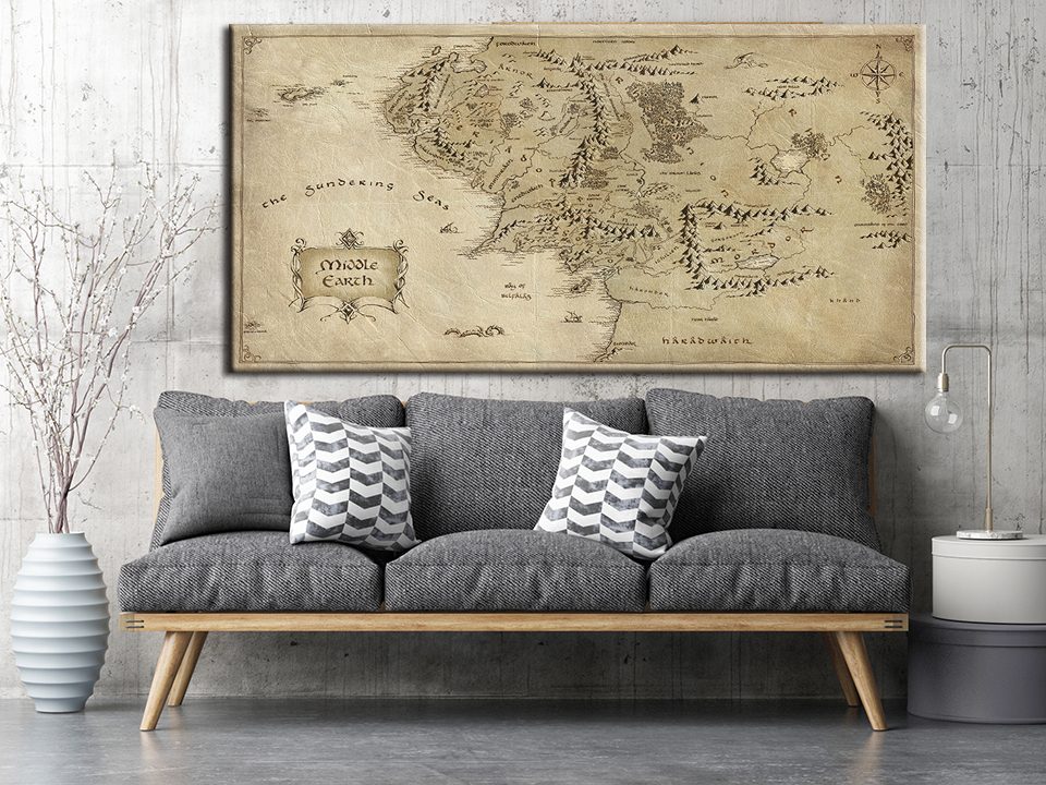 Movie The Lord Of The Rings Map Painting Canvas HD Prints Posters For Living Room Home Decor 1 Pieces Wall Art Pictures NO Frame image