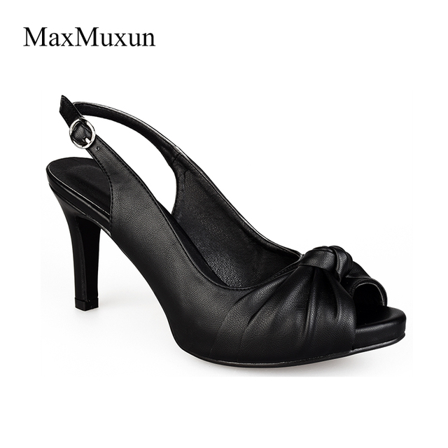 29e2e82650d MaxMuxun Womens Peep Toe Slingback Thin Kitten Heels Pumps Sexy Office  Ladies OL Ankle Strap Stiletto Wedding Dance Party Shoes