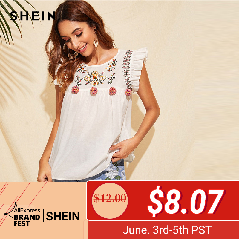 SHEIN Cute Boho White Ruffle Trim Pompom Detail Floral Embroidery Top Blouse Women O-Neck Sleeveless Keyhole Back Ruffle Blouses(China)