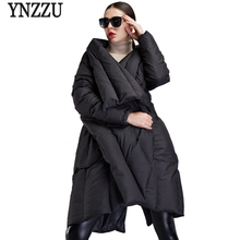 YNZZU Europe Style New Winter Women Down Jackets Solid Chic Cloak Thick Warm Large Turn Collar Outwears High Quality YO443