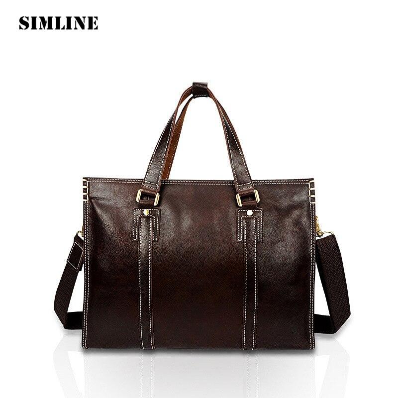 SIMLINE Vintage Business Genuine Cow Leather Men Men's Male Tote Handbag Handbags Shoulder Bag Laptop Bags Briefcase For Man simline brand vintage casual 100
