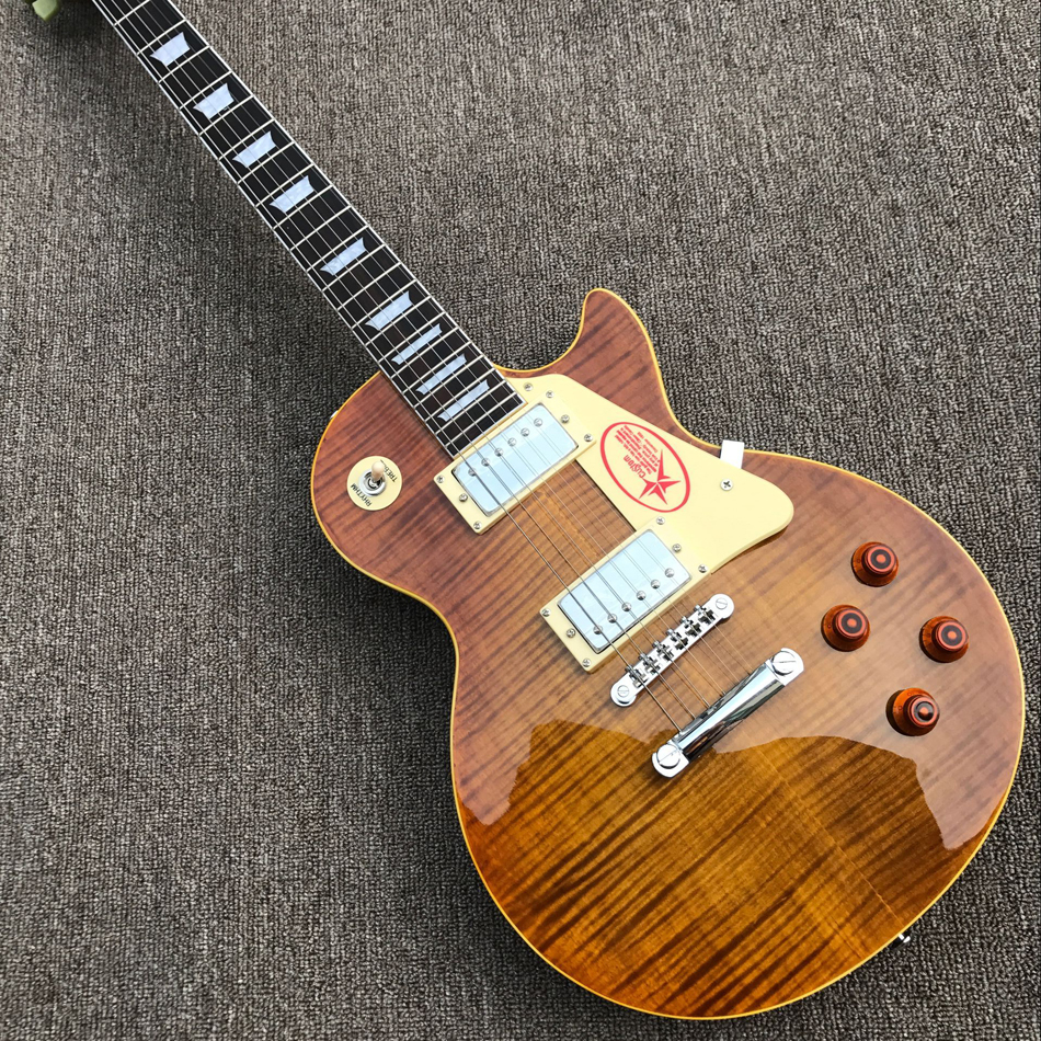 Livraison gratuite mise à niveau personnalisé magasin 1959 R9 tiger flame LP guitare électrique standard LP 59 Guitare Électrique en gros