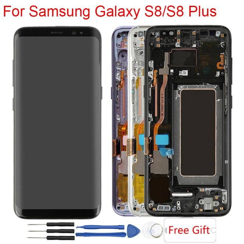 Écran d'origine Super Amoled S8 pour Samsung Galaxy S8 Plus écran LCD avec cadre Galaxy S8 Plus G950F G955F graver ombre LCD